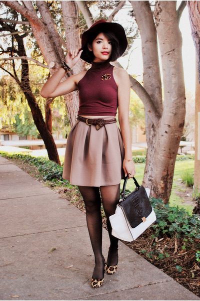 maroon American Apparel top - maroon H&M hat - white Mimi Boutique bag