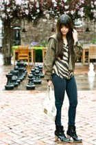 black Urban Outfitters boots - navy LF jeans - army green LF jacket - ivory viny