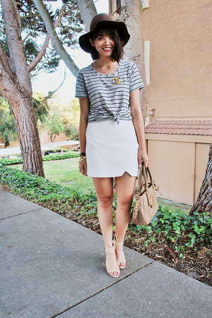 white Zara skirt - brown Urban Outfitters hat - light brown tory burch bag