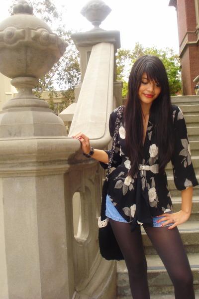 black vintage blouse - blue Blue Asphalt shorts - brown unknown stockings - blac