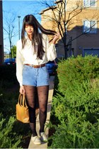 white vintage blouse - blue thrifted shorts - black Forever 21 tights - cream Fo
