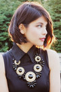 Black-h-m-dress-black-mimi-boutique-bag-gold-crossroads-necklace