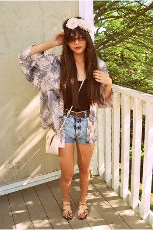 light pink kimono H&M top - peach asos bag - light blue Levis shorts