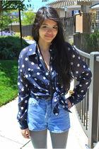 blue goodwill liz claiborne blouse - black ellemeno shoes - gray unknown tights