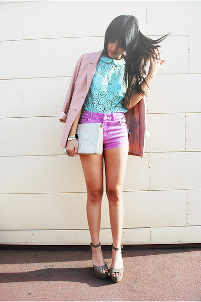 light purple nectar clothing shorts - light pink H&amp;M blazer
