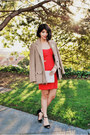 Red-blake-cutout-last-night-dress-beige-boyfriend-vintage-coat