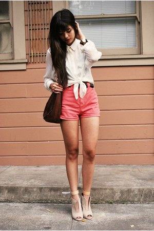 white H&M blouse - dark brown thrifted bag - coral American Apparel shorts