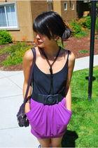 purple Urban Outfitters skirt - black papaya belt - black vintage necklace - pur