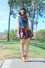 Deep-purple-clutch-mimi-boutique-bag-ruby-red-floral-skater-filthy-magic-skirt