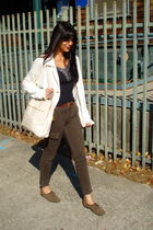green Urban Outfitters pants - beige Target coat - black unknown top - brown Tar