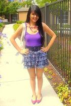 purple Forever 21 top - purple Forever 21 skirt - black papaya belt - pink Goodw