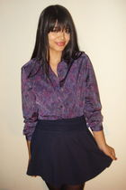 purple vintage blouse - blue American Apparel skirt