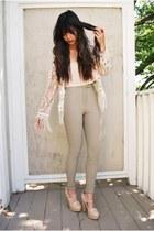 beige mary-jane Forever 21 heels - ivory fiji crochet Meghan LA sweater