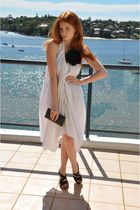 white Kirrily Johnston dress - Chanel Lambskin wallet belt - Silk Corsage access