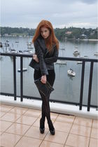 black Natasha jacket - black American Apparel dress - black Le Black Book stocki