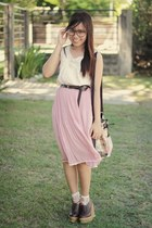 light pink pink polka dots skirt - brown lace up wedges