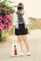 white black piping blazer - navy stripes blouse