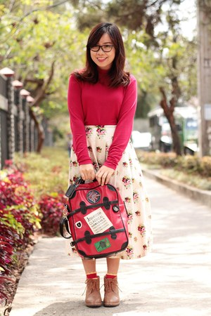 red vintage skirt - ruby red turtleneck sweater