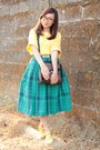 Yellow-boxy-thrifted-blouse-teal-plaid-midi-thrifted-skirt