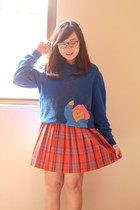 blue paddington bear Paddington Bear sweater - carrot orange plaid tartan skirt