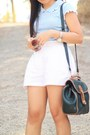 Sky-blue-blouse-lisa-loren-bag-white-high-waist-excursion-shorts