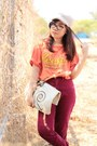 Carrot-orange-shirt-ruby-red-high-waisted-vintage-pants