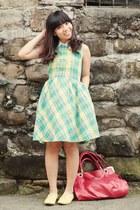 green plaid dress - red Zeca bag