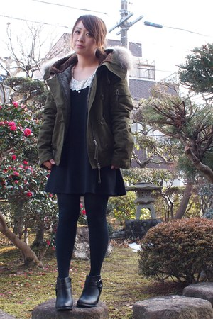 black Forever21 boots - black ingni dress - army green apart by lowrys coat