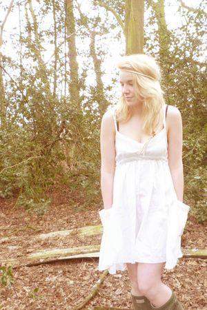 white angeleye dress - green Hunter shoes - beige Accessorize accessories