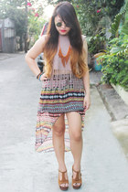 hi-low apartment8 skirt - Nava heels - fringe DIY top - Bazaar necklace