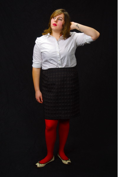 red monoprix tights - white Gap shirt - black houndstooth Mossimo skirt