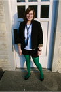 Green-american-apparel-tights-black-leopard-lined-agb-blazer