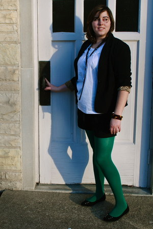 green American Apparel tights - black leopard lined AGB blazer