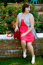 Red-mossimo-dress-brick-red-hobo-international-bag-navy-striped-vest