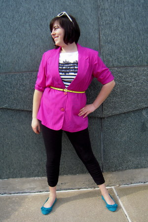 black ruched detail Betsey Johnson leggings - hot pink thrifted Maggie Sweet bla