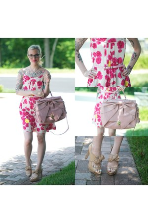 pink patent leather Forever 21 belt - hot pink floral print Anthropologir dress