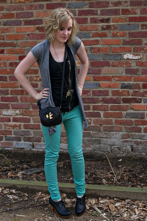 aquamarine Zara jeans - black leather Marc by Marc Jacobs bag - heather gray car