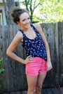 Navy-kohls-top-coral-high-waisted-forever-21-shorts