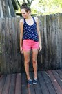 Coral-high-waisted-forever-21-shorts-navy-kohls-top