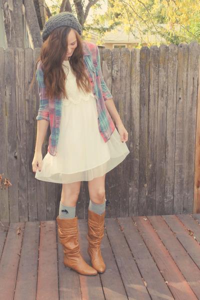 PacSun top - light brown Steve Madden boots - white H&M dress