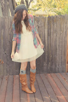 PacSun top - light brown Steve Madden boots - white H&M dress