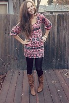 coral aztec riffraff dress - brown Steve Madden boots