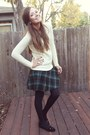 Dark-green-plaid-skirt-h-m-skirt-cream-cable-knit-forever-21-sweater
