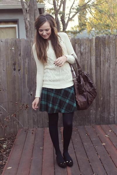 Dark Green Plaid Skirt H Amp M Skirts Cream Cable Knit