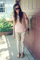 floral Forever 21 pants - Urban Outfitters sunglasses - glitter Target sandals