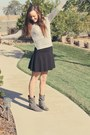 Black-skater-skirt-heather-gray-motorcycle-boots