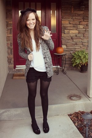 lace OASAP shorts - black and white J Crew sweater - OASAP t-shirt
