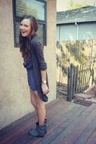 gray H&M cardigan - charcoal gray boots - navy pins and needles romper