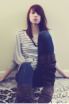 silver free people cardigan - blue Gap t-shirt - blue BDG jeans - charcoal gray