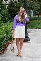 purple JCrew blouse - light pink Rebecca Minkoff bag